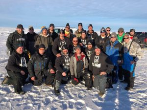 large group of ice fisherman the low t's with Blackwater Cats outfitter